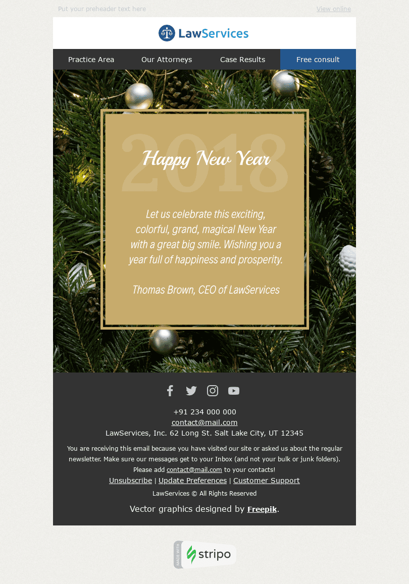 Stripo Legal Holiday newsletter New Year Fascinating Event email web