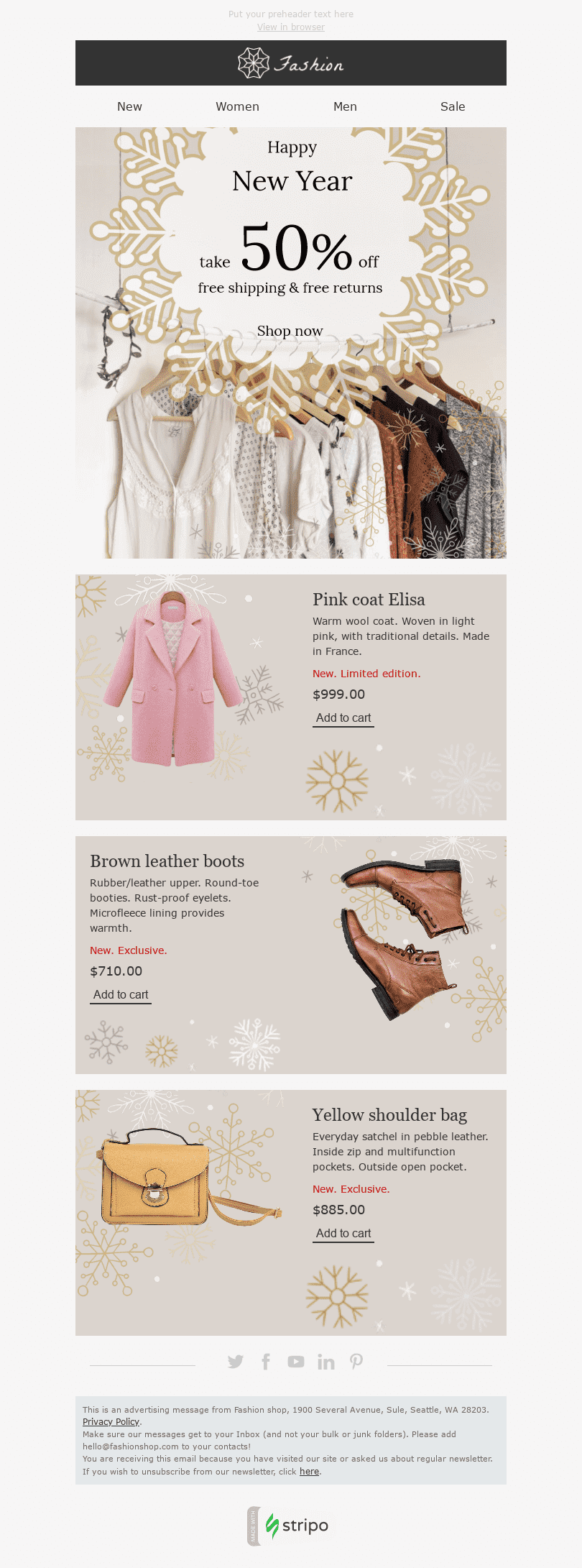 "New Year Email Template ""Snow Queen"" for Fashion industry desktop view"