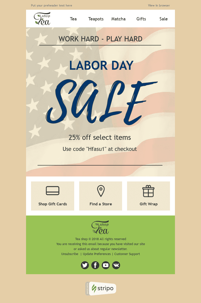 "Labor Day Email Template ""Long Awaited Rest"" for Beverages industry desktop view"