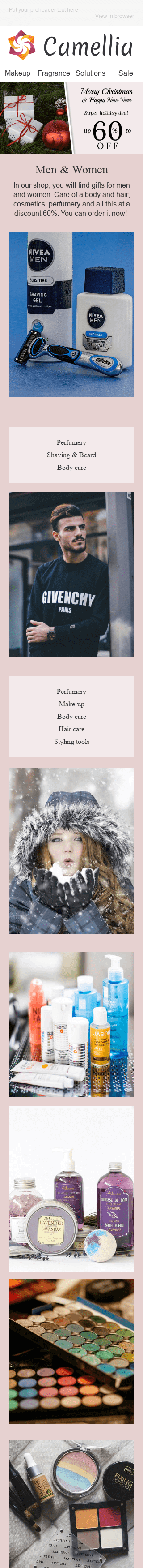 "Christmas Email Template ""Soft Care"" for Beauty & Personal Care industry mobile view"