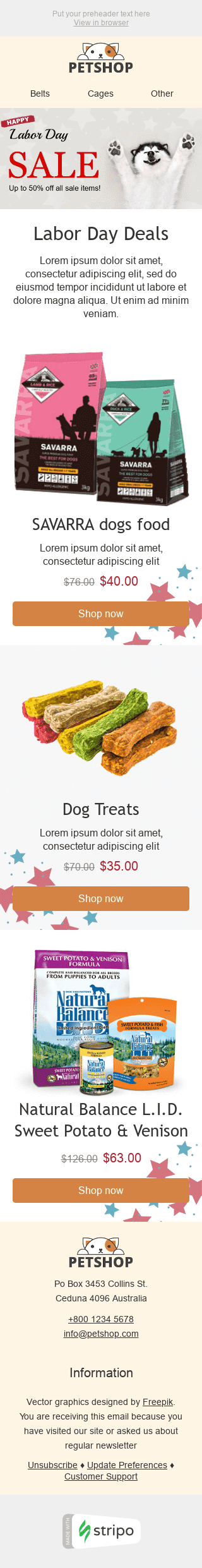 Stripo Pets Holiday newsletter Labor Day Big Sale email web