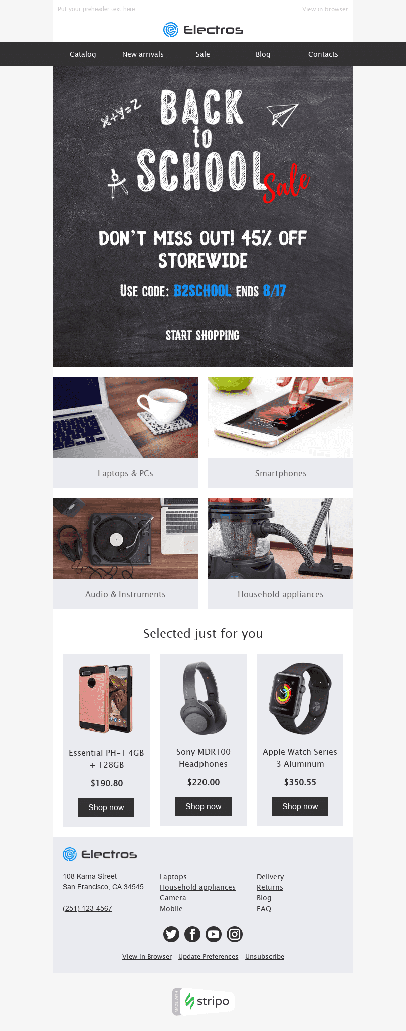 "Back to School Email Template ""Trending Items"" for Gadgets industry desktop view"