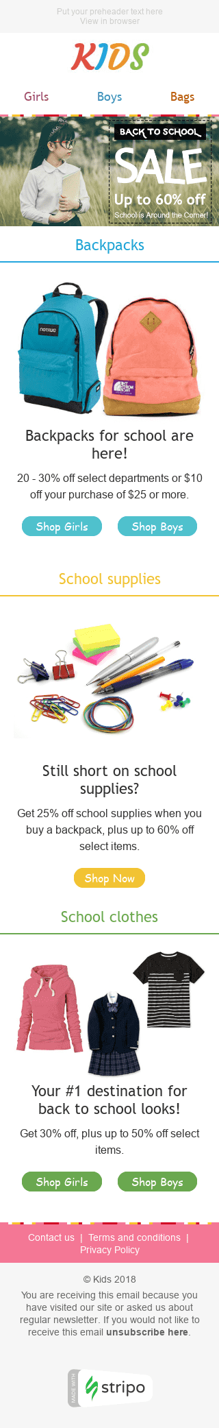 "Back to School Email Template ""Sale Time"" for Kids Goods industry mobile view"