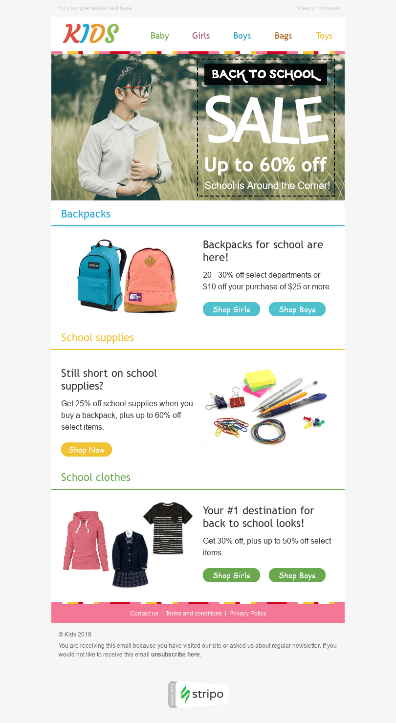 "Back to School Email Template ""Sale Time"" for Kids Goods industry desktop view"