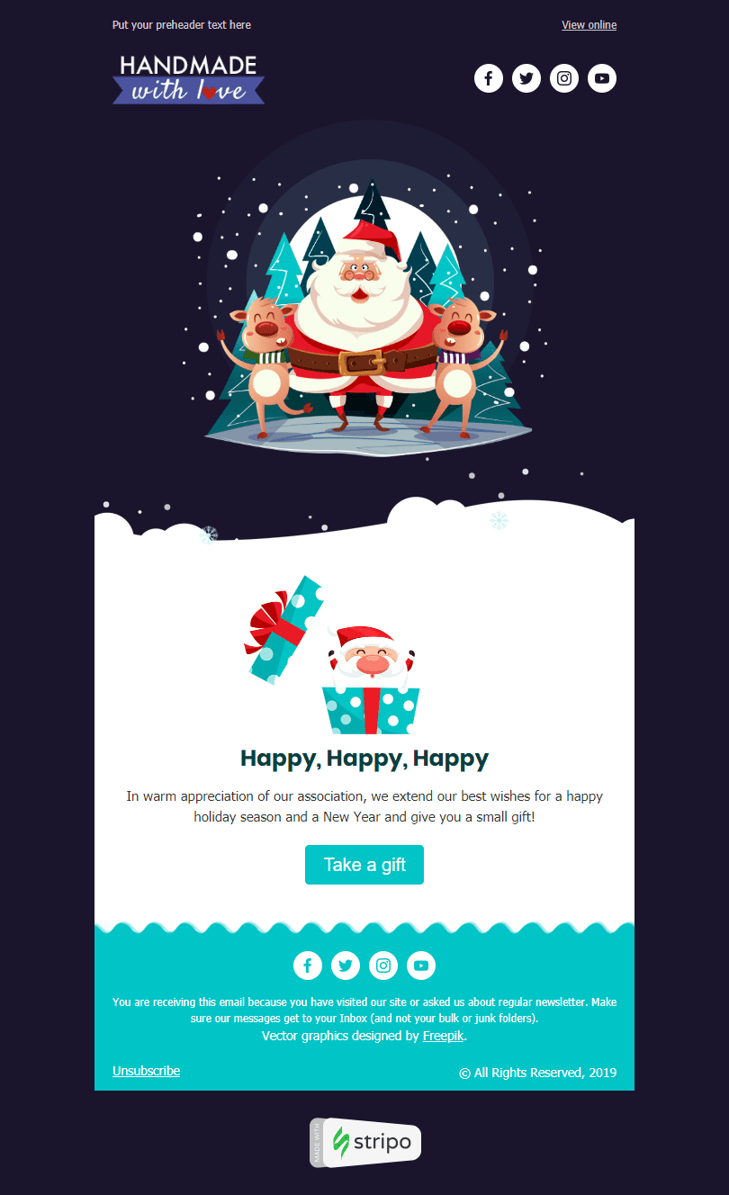 Сhristmas Email Template «Christmas Presents» for Books & Presents & Stationery industry desktop view