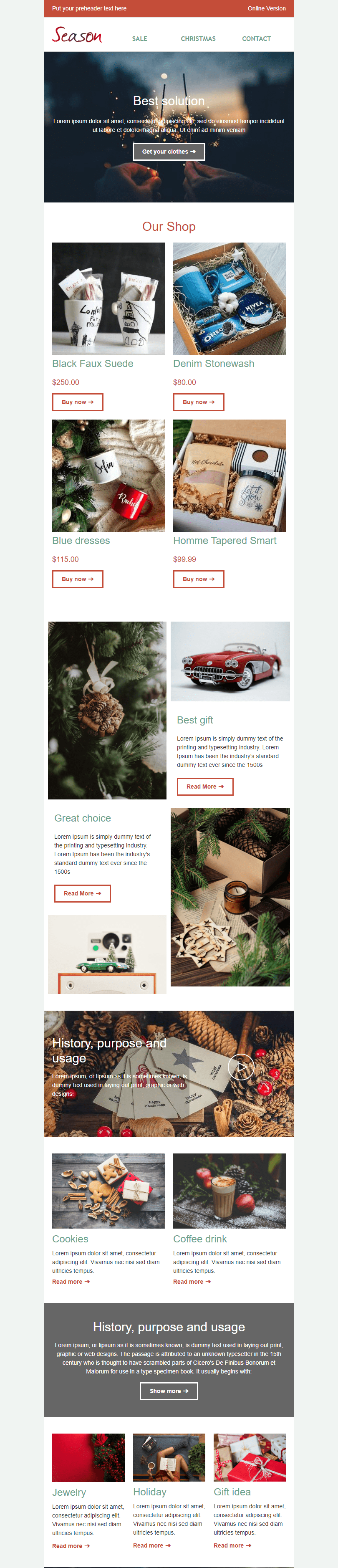 Promo Email Template «Seasonal Shop» for Gifts & Flowers industry desktop view