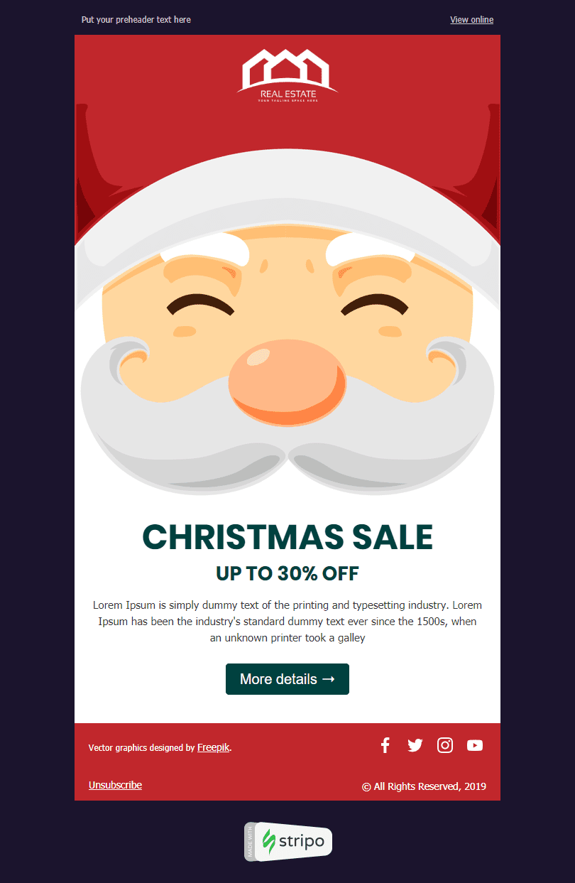 Сhristmas Email Template «Cozy Сhristmas» for Real Estate industry desktop view