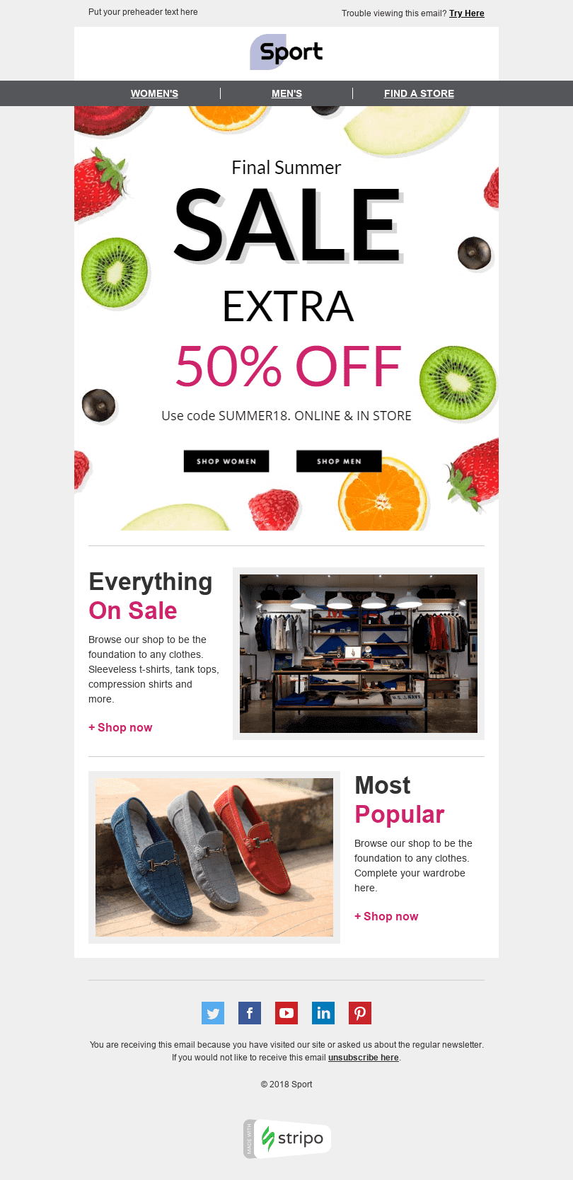 "Discount Email Template ""Final Sale"" for Sports industry desktop view"