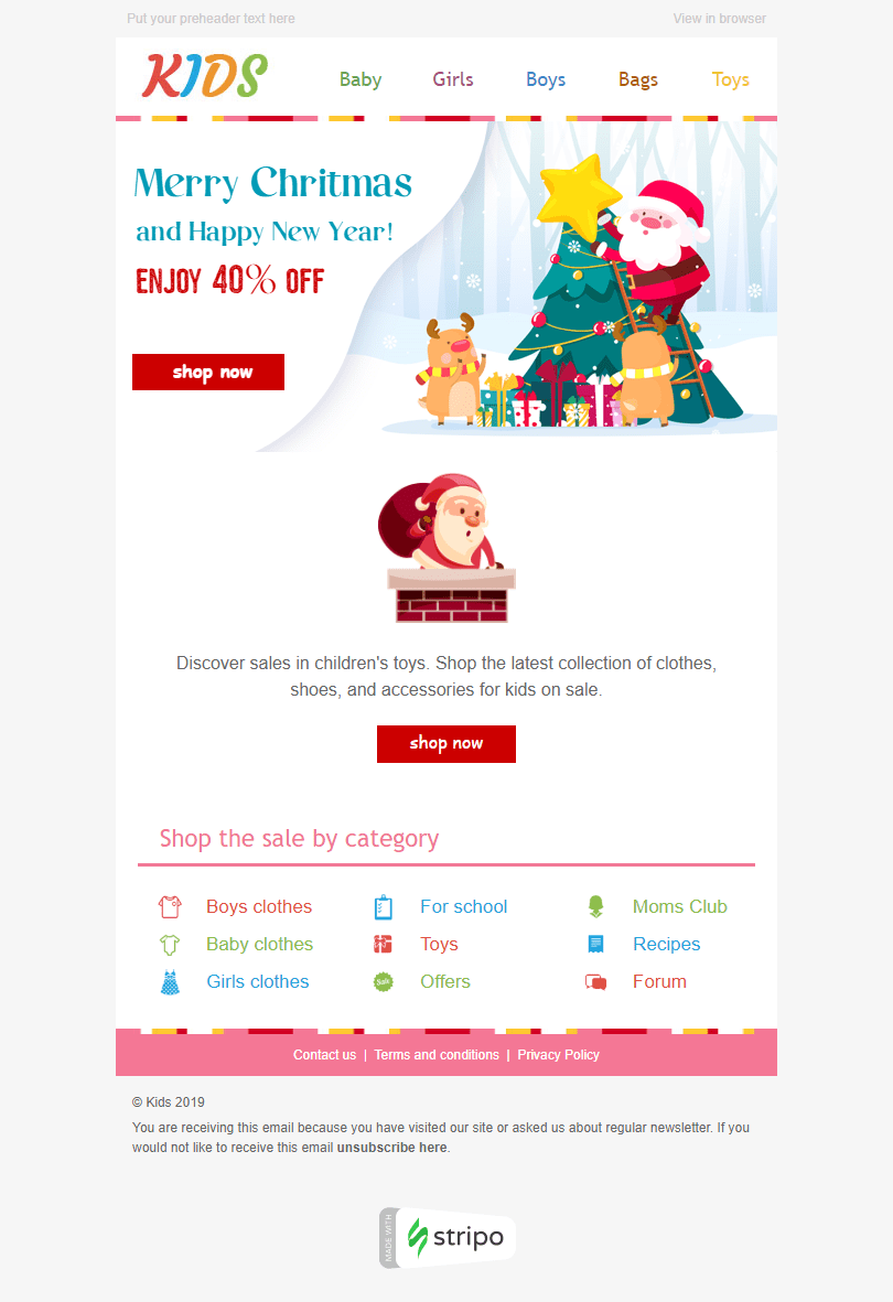 Сhristmas Email Template «Baby Smiles» for Kids Goods industry desktop view