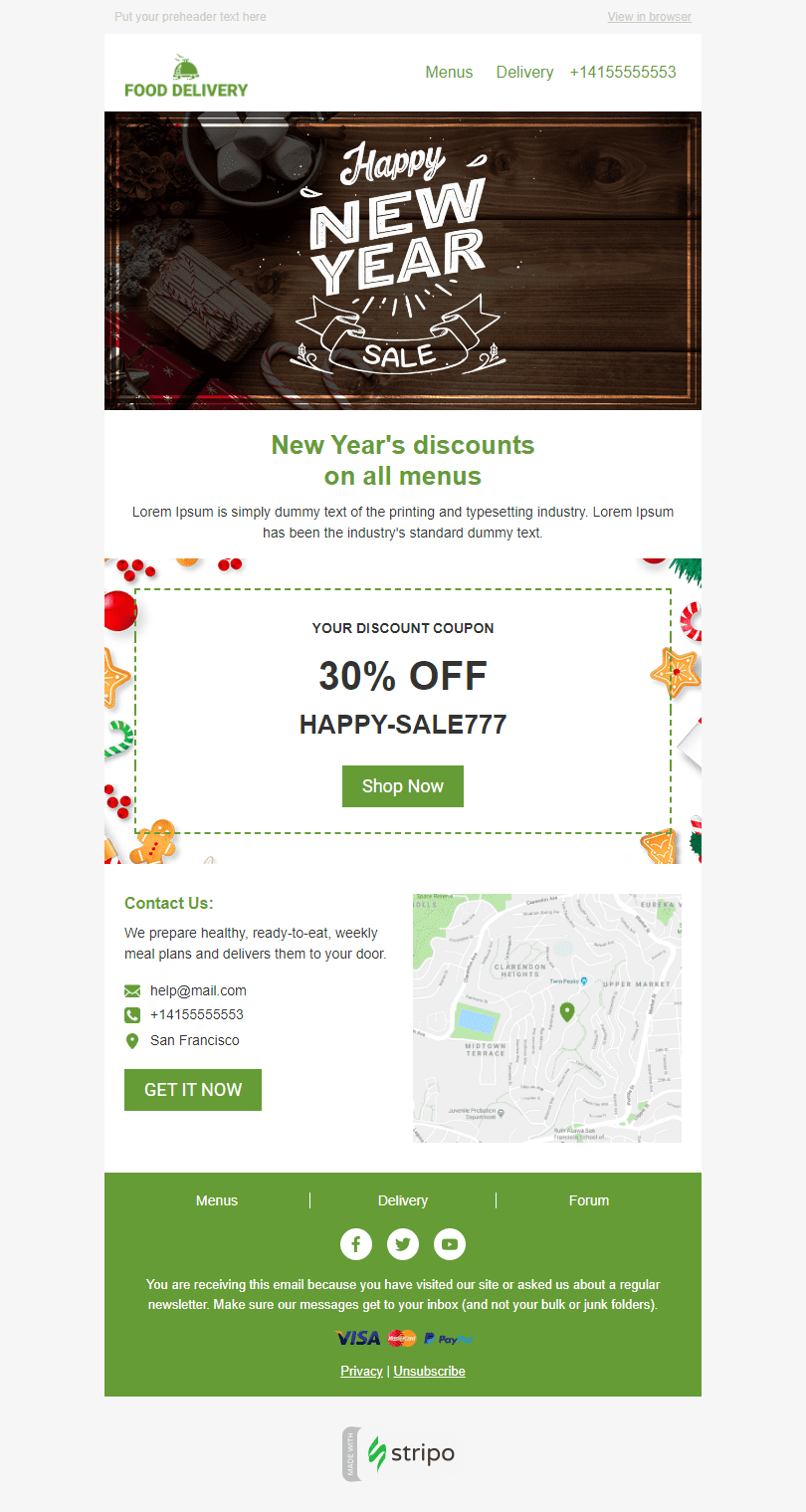 Сhristmas Email Template «Holiday Food» for Food industry desktop view