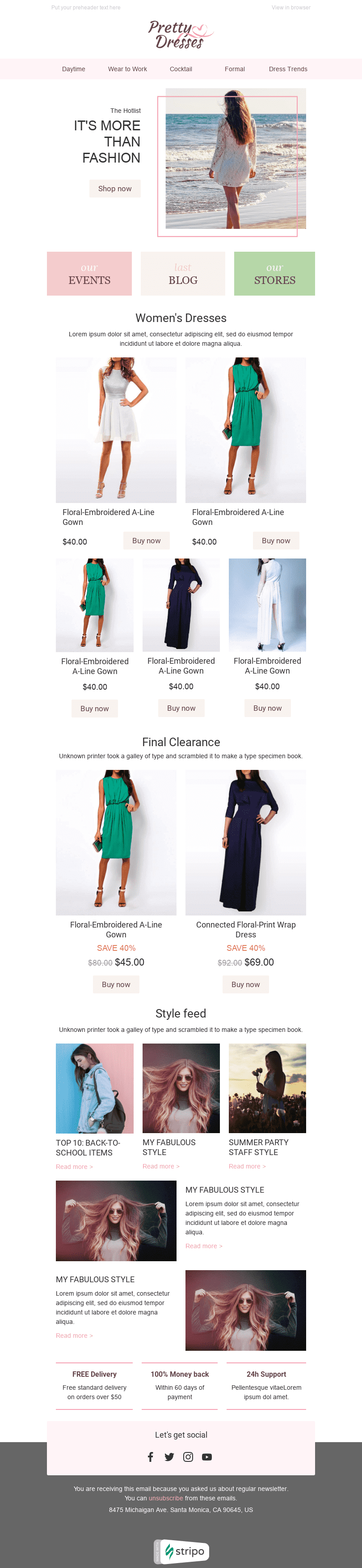"Promo Email Template ""Pretty Dresses"" for Fashion industry desktop view"