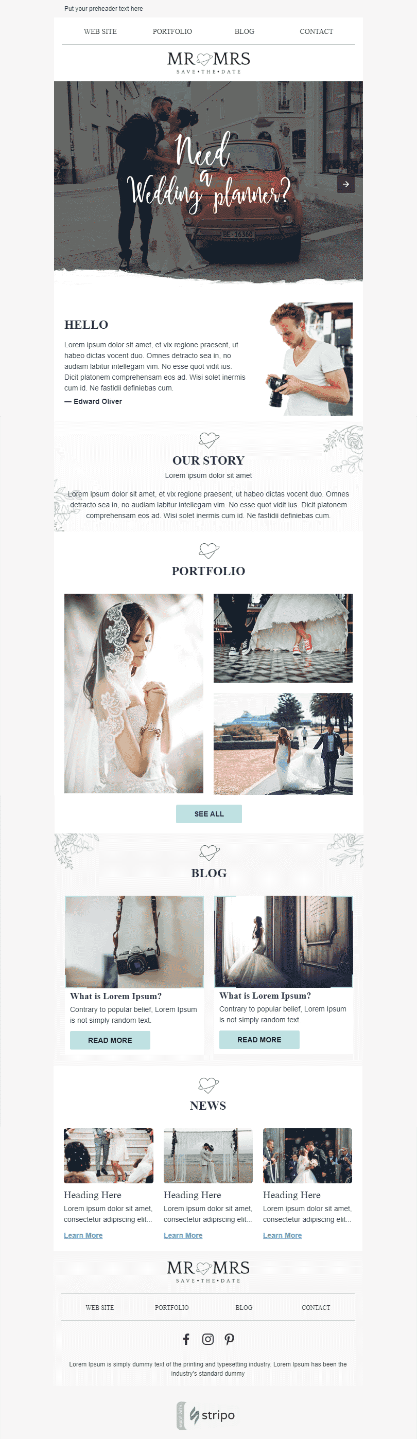Promo Email Template «Save The Day» for Photography industry desktop view
