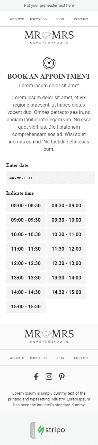 Book an event Email Template «Meeting Time» for Photography industry mobile view