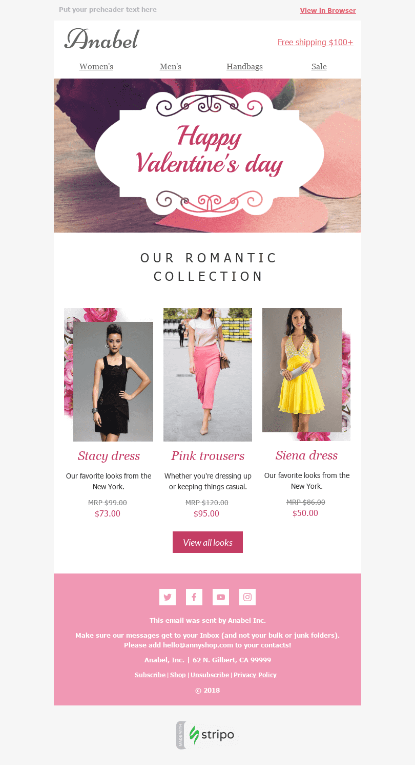 "Valentine's Day Email Template ""Pink Dream"" for Fashion industry desktop view"