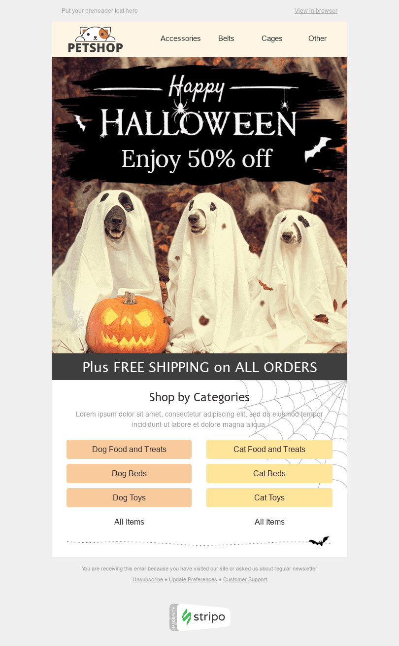 "Halloween Email Template ""Nice Ghosts"" for Pets industry desktop view"