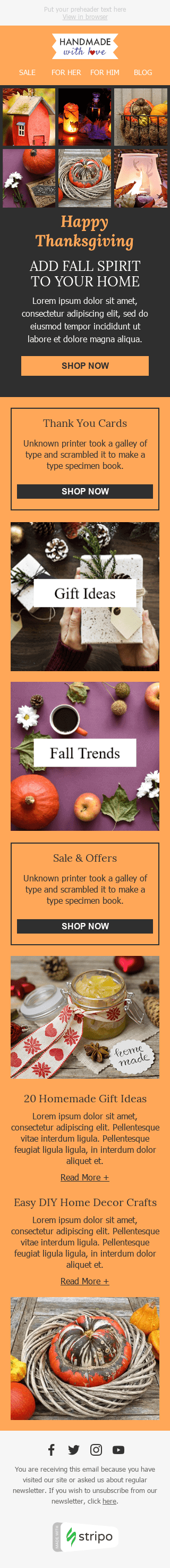 Stripo Books Presents Stationery Holiday newsletter Halloween Fall Spirit email web