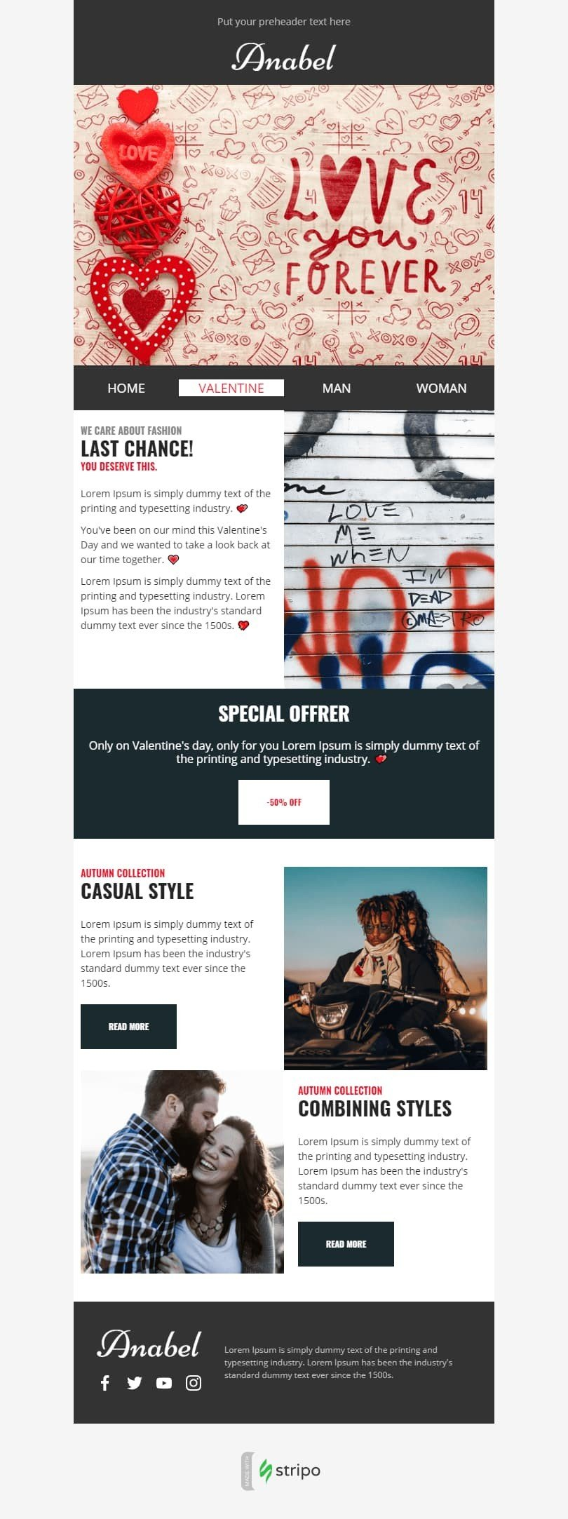 Valentine's Day Email Template «Love You Forever» for Fashion industry desktop view