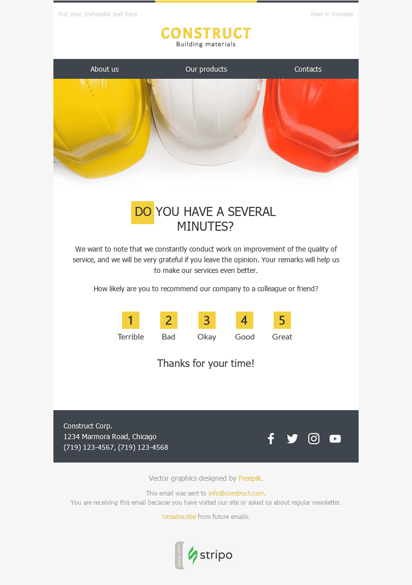Stripo Construction Trigger newsletter Survey Feedback Quick Question email web