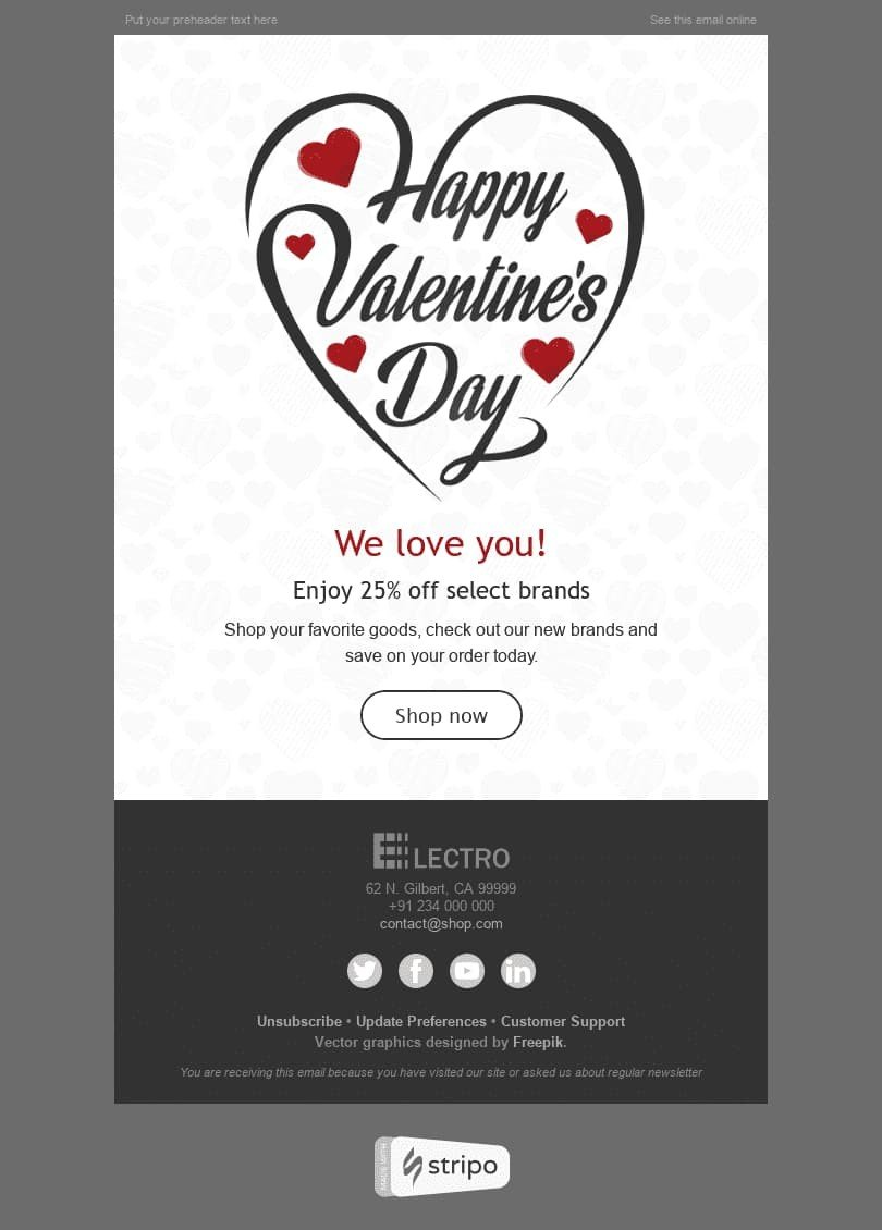 "Valentine's Day Email Template ""Love Around Us"" for Gadgets industry desktop view"