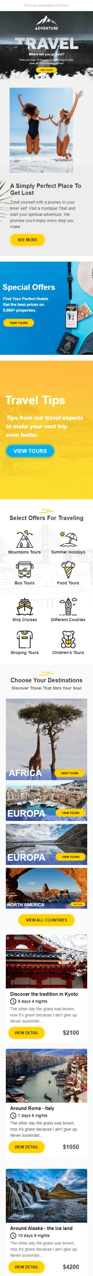 Promo Email Template «Travel Fun» for Tourism industry mobile view