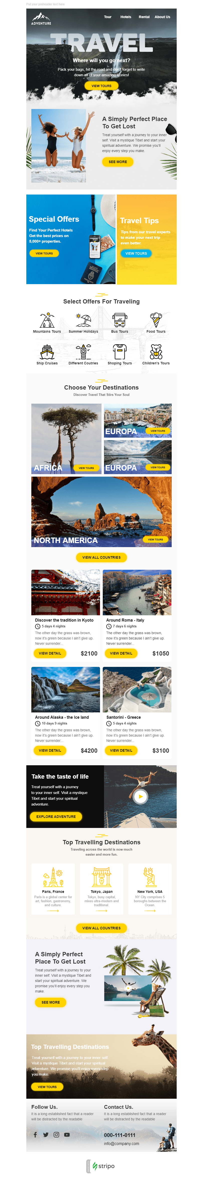 Promo Email Template «Travel Fun» for Tourism industry desktop view