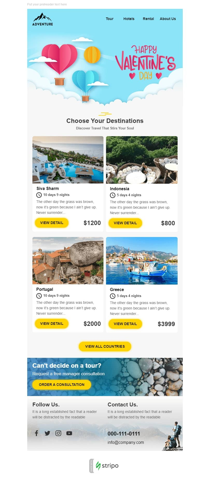 Valentine's Day Email Template «Romantic trip» for Tourism industry desktop view