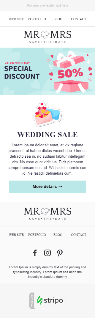 Valentine's Day Email Template «Day of Love» for Photography industry mobile view