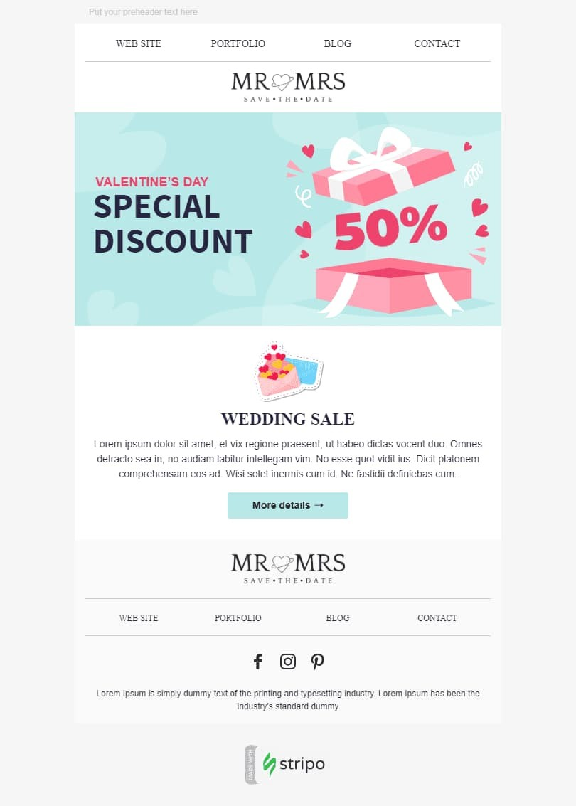 Valentine's Day Email Template «Day of Love» for Photography industry desktop view