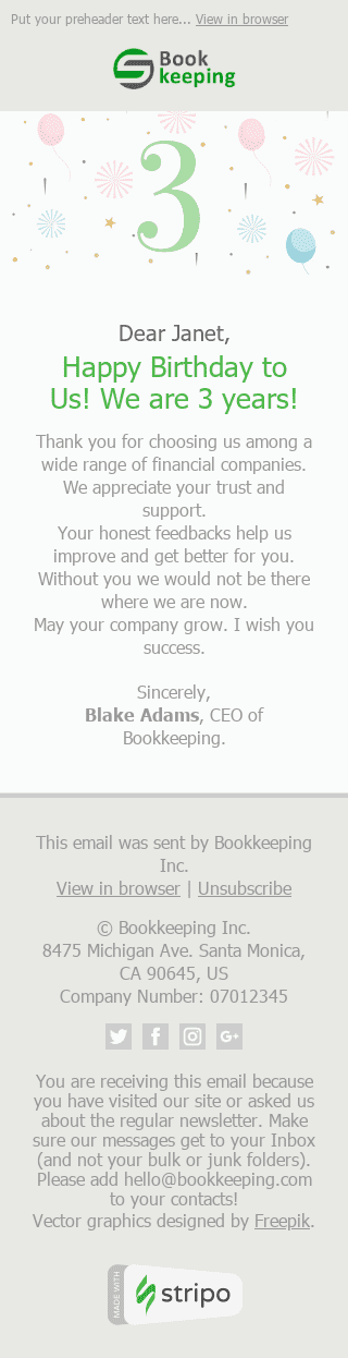 "Thank You Email Template ""3 Years Together"" for Finance industry mobile view"