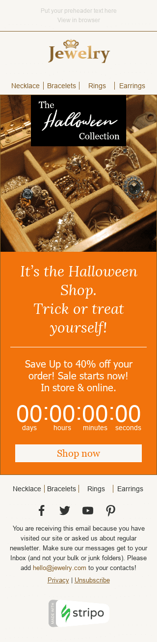 Stripo Jewelry Holiday newsletter Halloween Spooky Sale email web