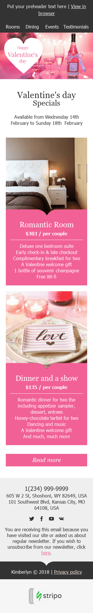 "Valentine's Day Email Template ""Romantic Weekend"" for Hotels industry mobile view"