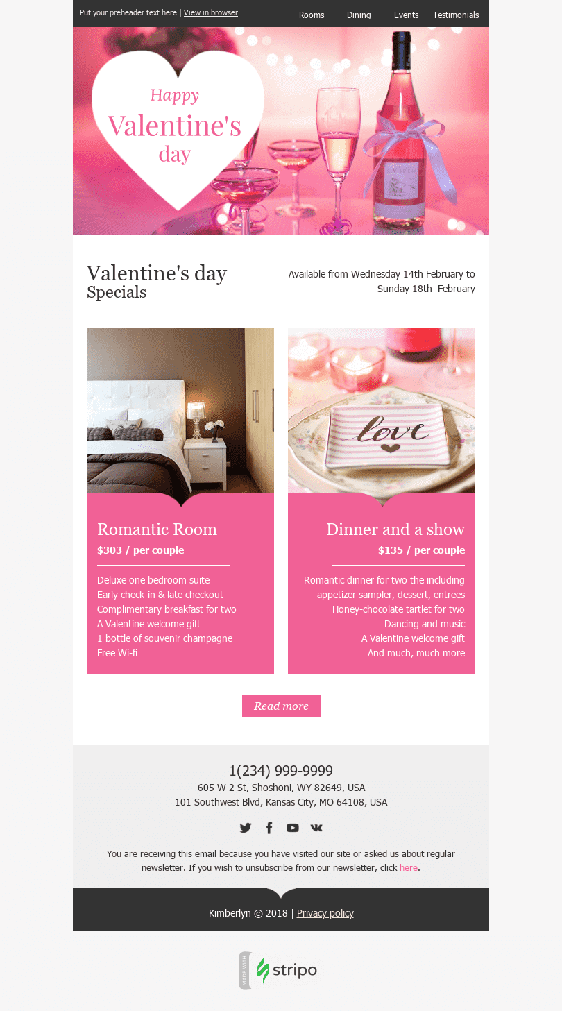 "Valentine's Day Email Template ""Romantic Weekend"" for Hotels industry desktop view"
