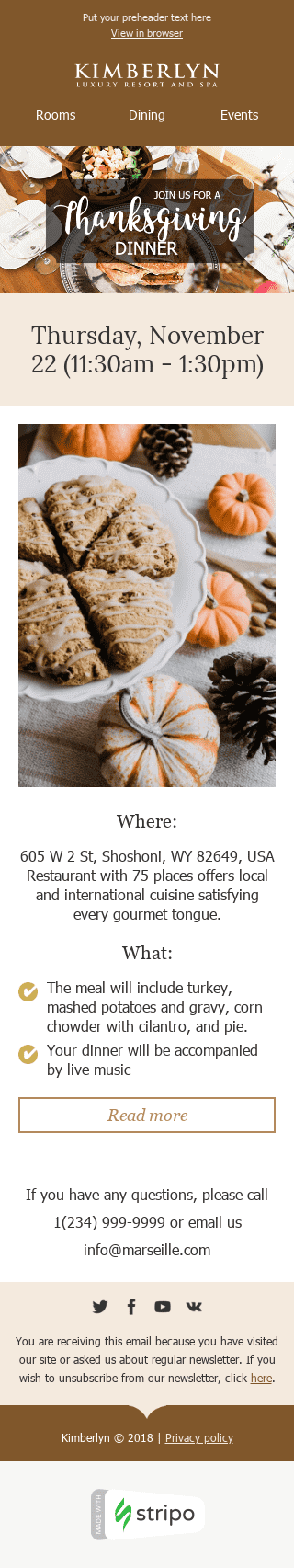"Thanksgiving Day Email Template ""Delicious Dinner"" for Hotels industry mobile view"