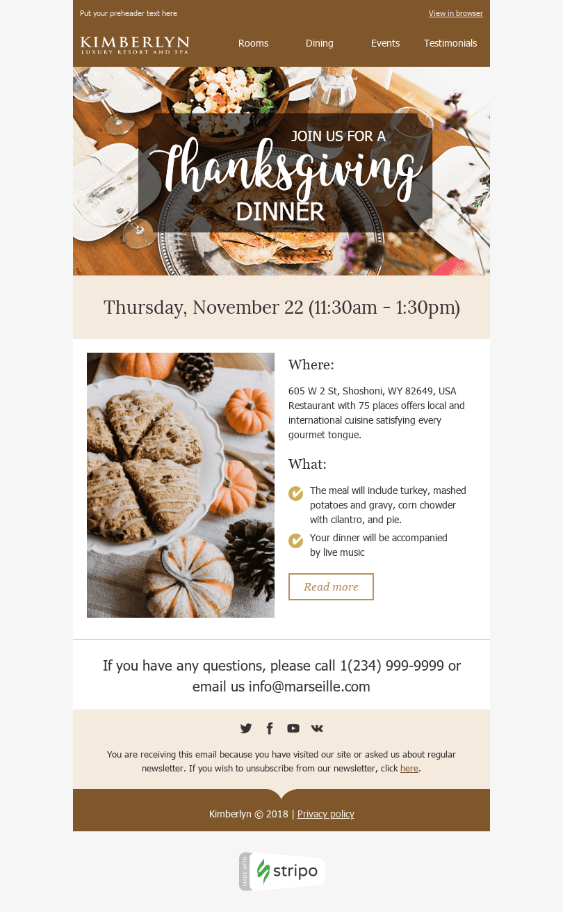 "Thanksgiving Day Email Template ""Delicious Dinner"" for Hotels industry desktop view"