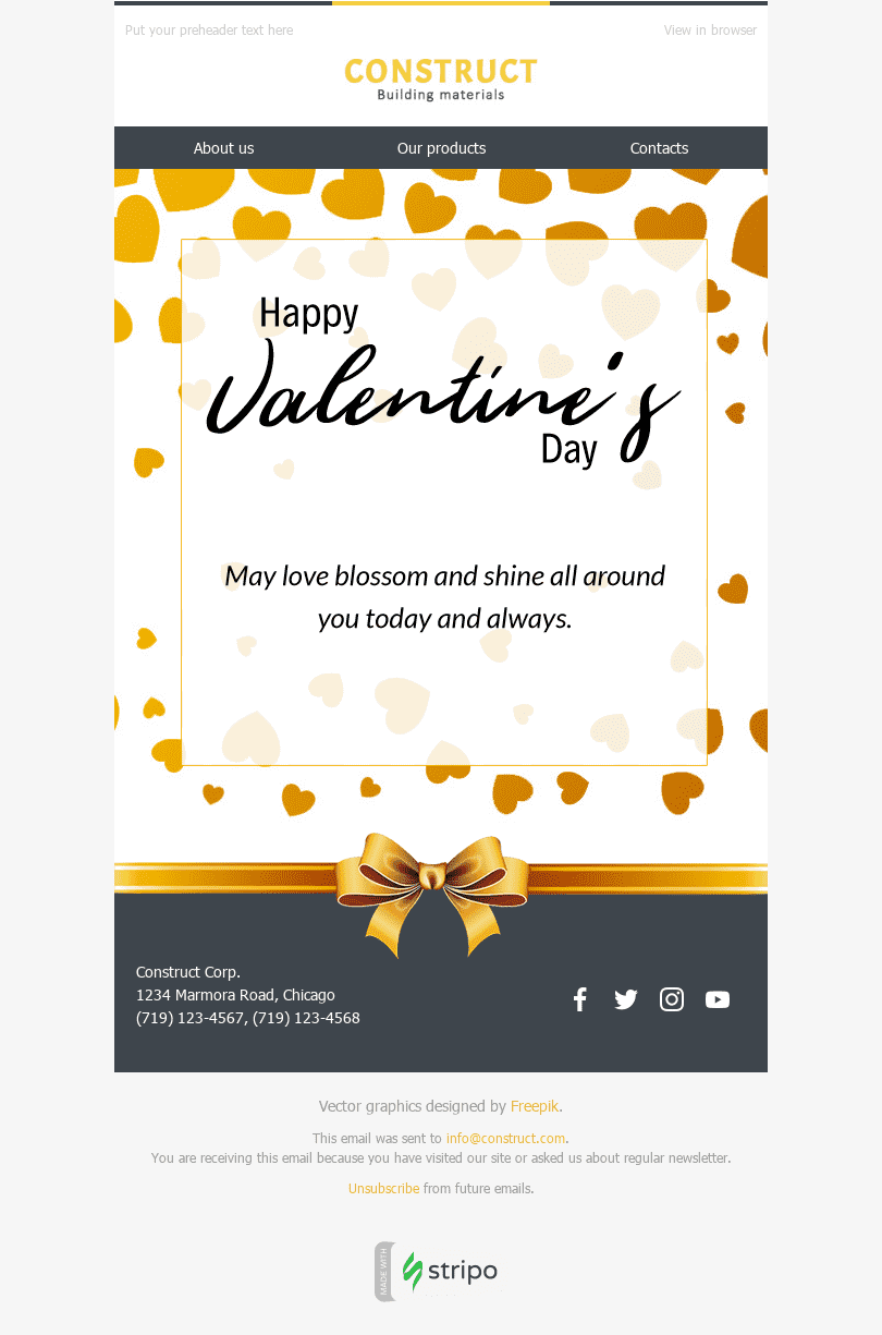 Stripo Constraction Holiday newsletter Happy Valentine day Bright Greeting email web