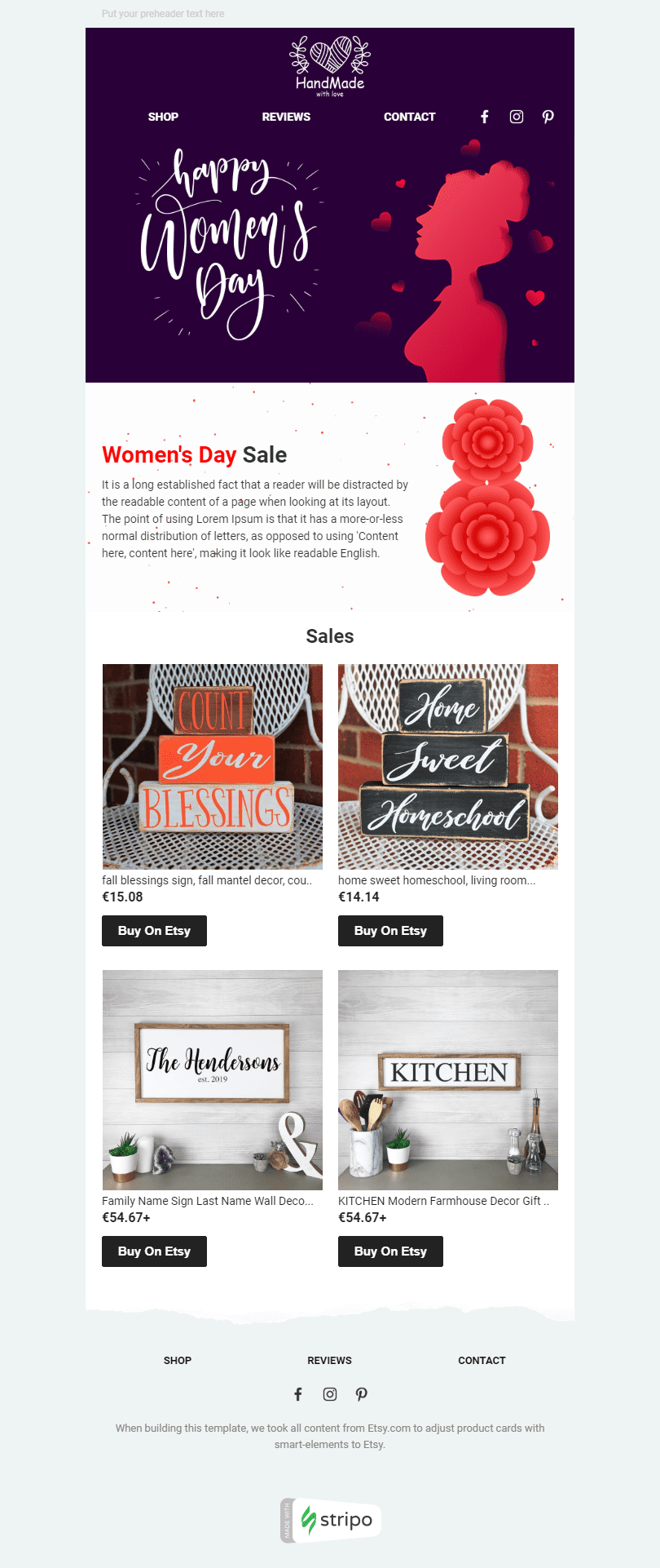 Women's Day Email Template «Women's Secrets» for Ecommerce industry desktop view