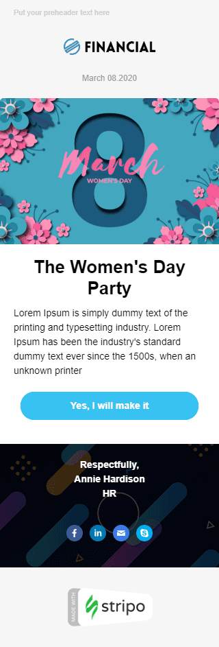 Women's Day Email Template «Corporate Party» for Human Resources industry mobile view