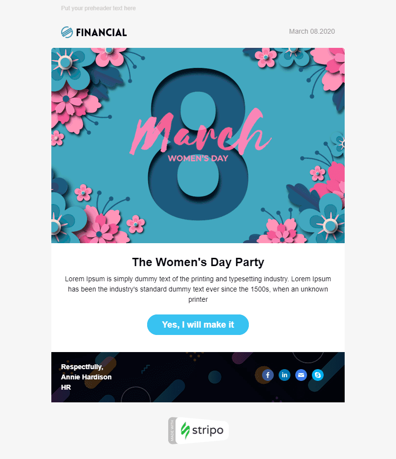 Women's Day Email Template «Corporate Party» for Human Resources industry desktop view