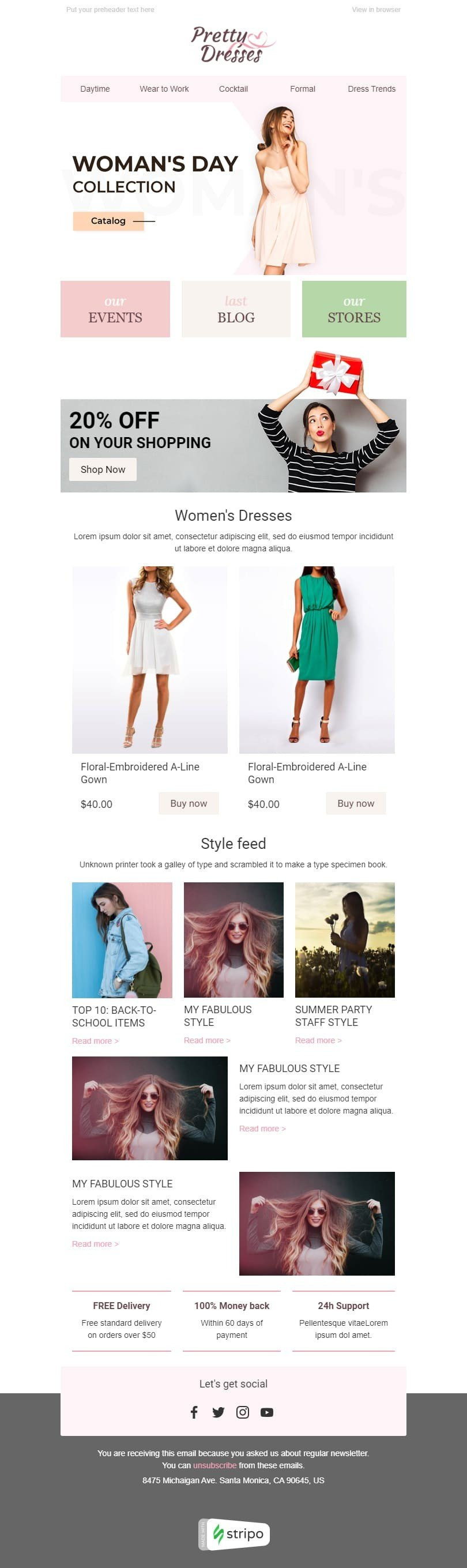 Women's Day Email Template «Women Joy» for Fashion industry desktop view