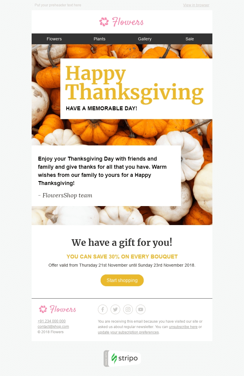 "Thanksgiving Day Email Template ""Memorable Day"" for Gifts & Flowers industry desktop view"