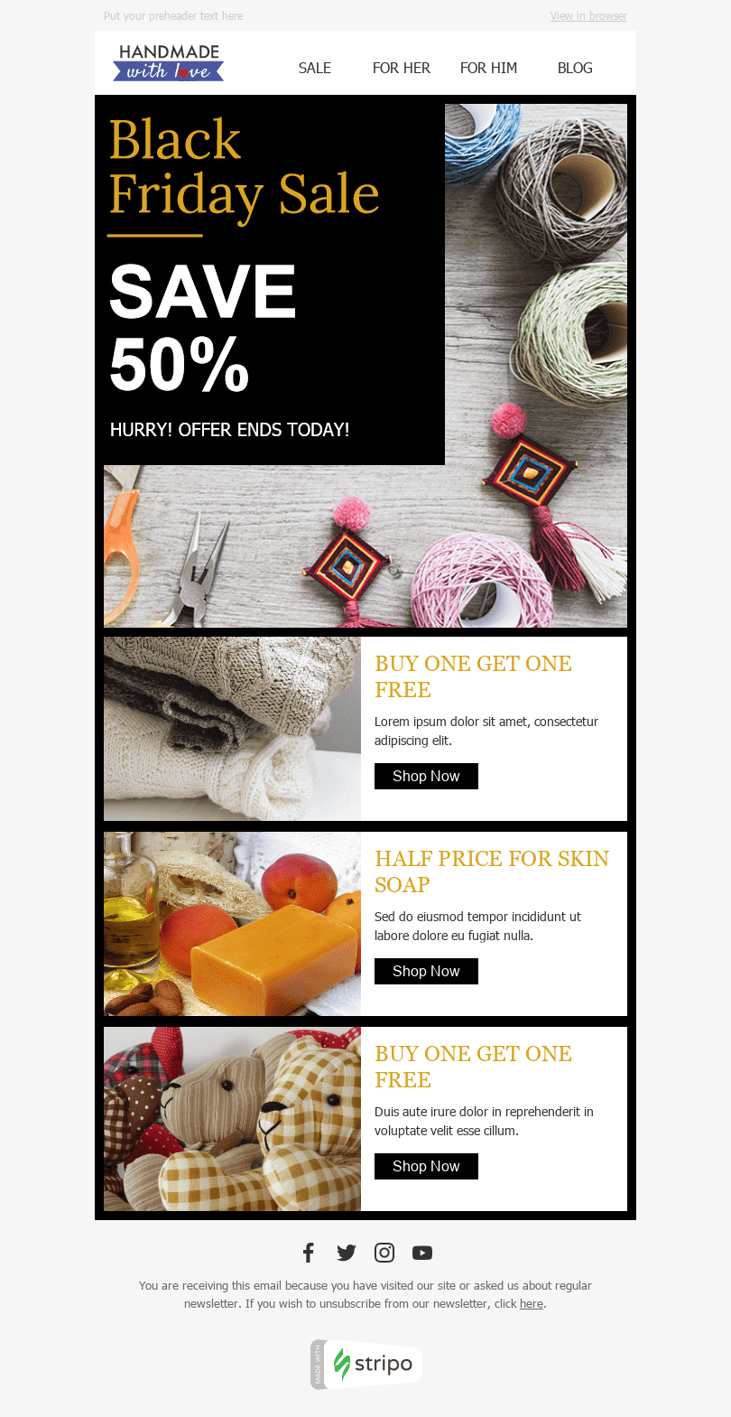 Stripo Books Presents Stationery Holiday newsletter Black Friday Weekend Sale email web