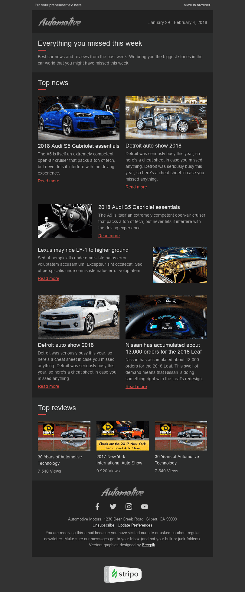 "Email Digest Email Template ""Best News"" for Auto & Moto industry desktop view"