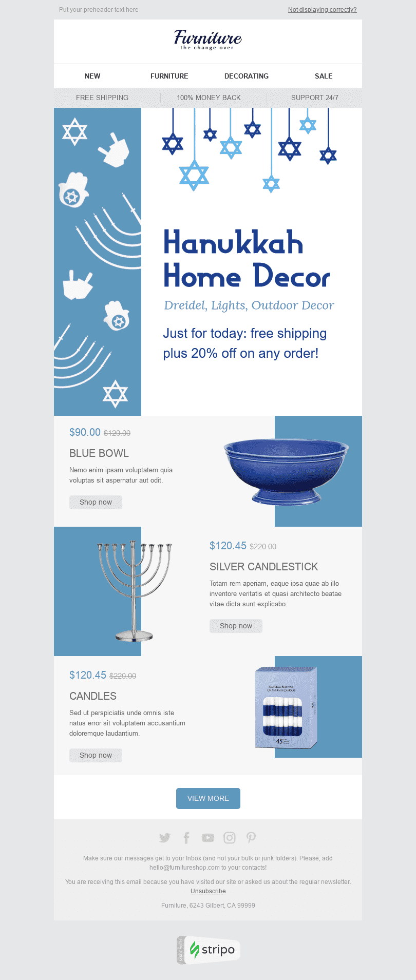 Stripo Furniture Home Decor Holiday newsletter Hanukkah Blue Candles email web