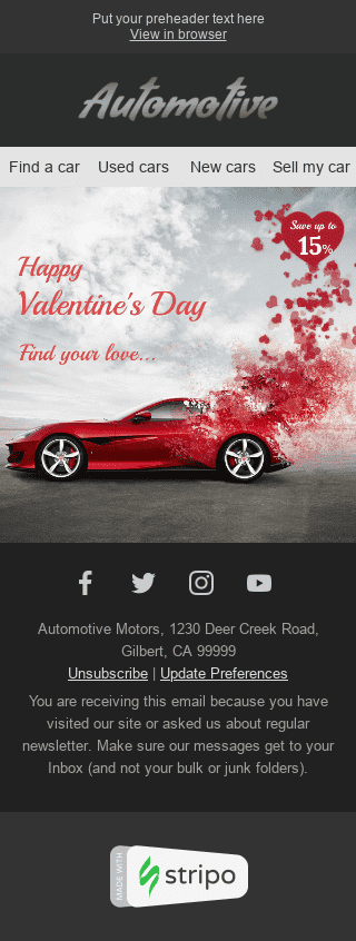 "Valentine's Day Email Template ""Find Your Love"" for Auto & Moto industry mobile view"
