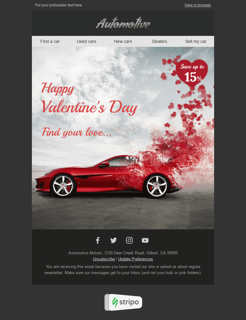 "Valentine's Day Email Template ""Find Your Love"" for Auto & Moto industry desktop view"