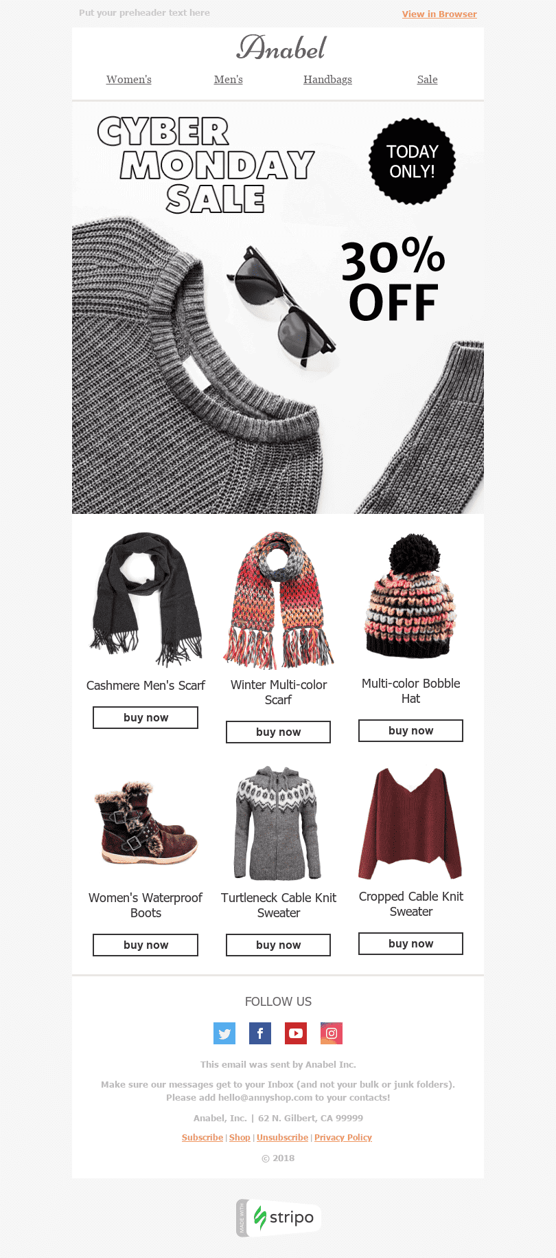Stripo Fashion Holiday newsletter Cyber Monday Warm Clothes email web