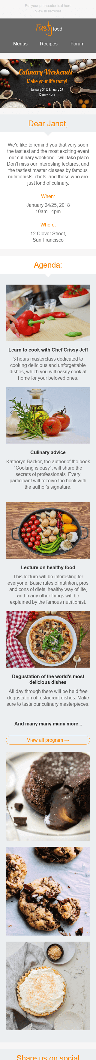 "Event Reminder Email Template ""Culinary Weekend"" for Food industry mobile view"