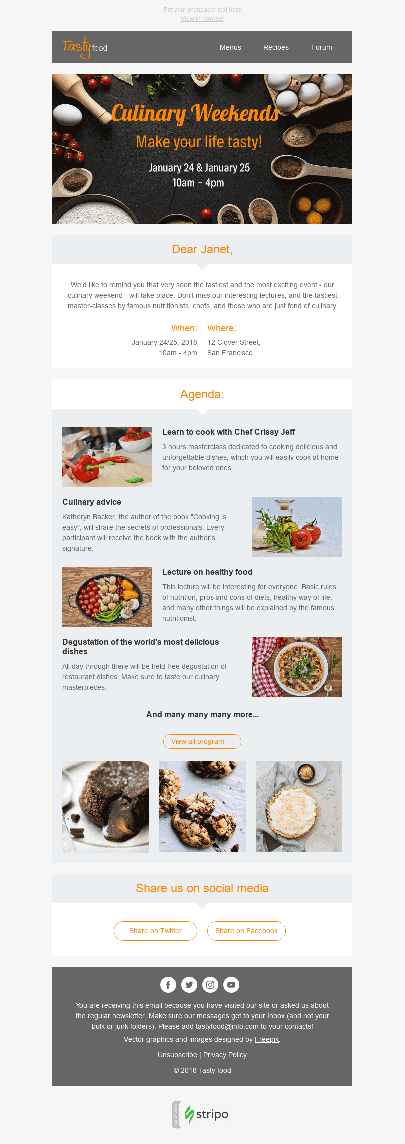 "Event Reminder Email Template ""Culinary Weekend"" for Food industry desktop view"