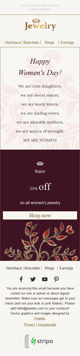Stripo Jewelry Holiday newsletter Womens day Fine Words email web
