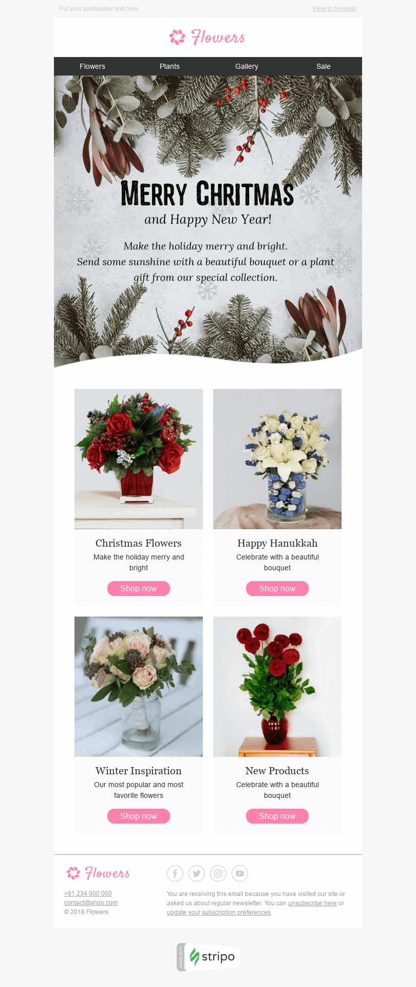 Stripo Gifts Flowers Holiday newsletter Christmas New Year Winter Inspiration email web